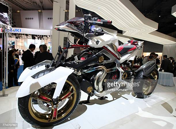 """Yamaha's 4-wheeled motorcycle """"Tesseract"""" is displayed during the press day of the 40th Tokyo Motor Show at Makuhari Messe, on October 24 in Chiba..."""