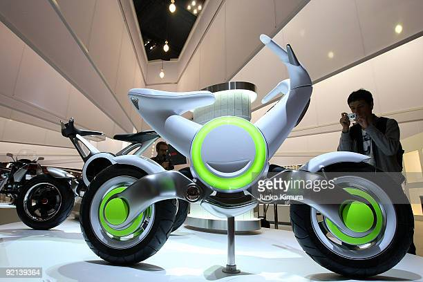 Yamaha's electric concept vehicle ECf is seen on display during the 41st Tokyo Motor Show at Makuhari Messe on October 21 2009 in Chiba Japan The...