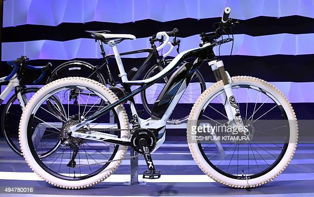 Yamaha's electricpowerassist bicycle YPJMTB concept is displayed at the Tokyo Motor Show in Tokyo on October 29 2015 The biennial motor show's 44th...