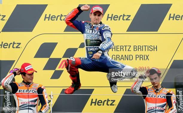 Yamaha's Jorge Lorenzo celebrates winning the Moto GP Hertz British Grand Prix at Silverstone Northamptonshire