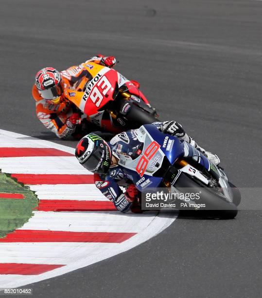Yamaha's Jorge Lorenzo leads Repsol Honda rider Marc Marquez during the Moto GP Hertz British Grand Prix at Silverstone Northamptonshire