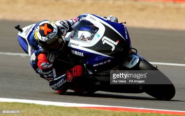 Yamaha's Jorge Lorenzo of Spain during MotoGP free practice 3 during the 2011 Airasia British Moto GP Qualifying Day at Silverstone Circuit...