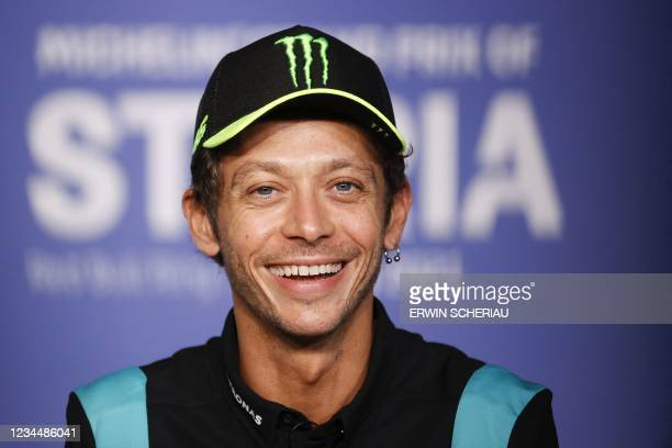 Yamaha-SRT Italian rider Valentino Rossi addresses a press conference to announce that he will retire at the end of the year, in Spielberg, Austria,...