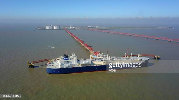 Yamal LNG Project IceBreaking LNG Carrier 'Vladimir Rusanov' from Russia's Arctic region is seen at PetroChina's Rudong terminal on July 17 2018 in...