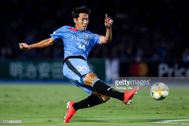 Yamamura Kazuya of Kawasaki Frontale shots during the J.League J1 match between Kawasaki Frontale and Jubilo Iwata at Todoroki Stadium on September...