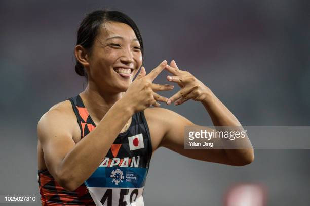 Yamasaki Yuki of Japan poses to the camera prior to Athletics WomenÕs Heptathlon 800m at GBK Main Stadium on day eleven of the Asian Games on August...