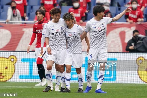 Yamato Machida of Oita Trinita celebrates scoring his team's first goal during the J.League Meiji Yasuda J1 match between Urawa Red Diamonds and Oita...