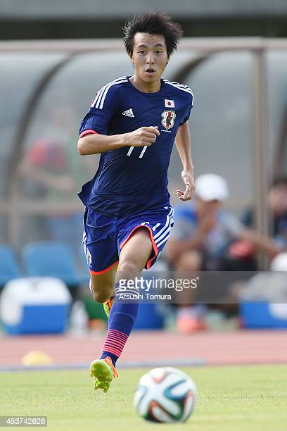 Yamato Ochi of Japan runs with the ball in the U19 match between South Korea and Japan during SBS Cup International Youth Soccer at Kusanagi Stadium...