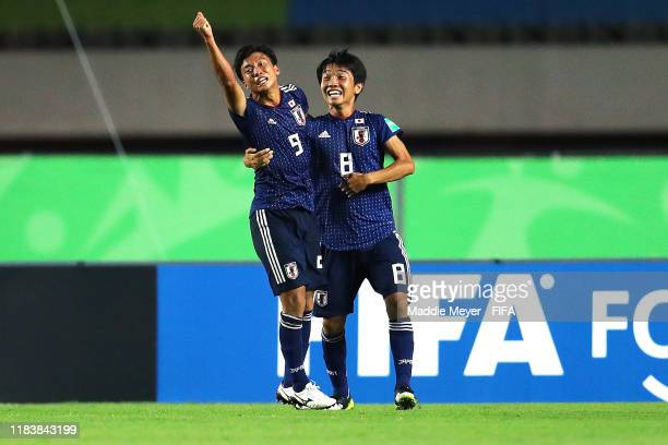 Yamato Wakatsuki of Japan celebrates with Hikaru Naruoka after scoring a goal during the Group D Match between Japan and Netherlands in the FIF U17...