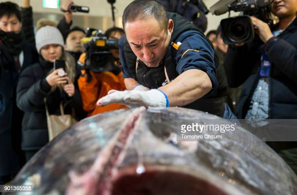 Yamayuki Group employee cuts the highest priced fresh bluefin tuna auctioned from the year's first auction at Tsukiji Market on January 5 2018 in...