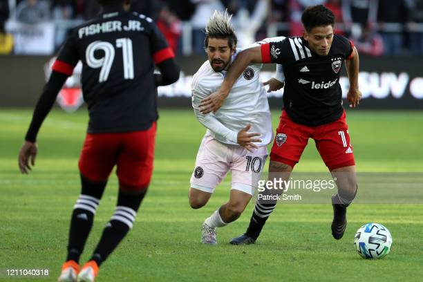 Yamil Asad of DC United and Rodolfo Pizarro of Inter Miami battle for the ball during the second half at Audi Field on March 7 2020 in Washington DC