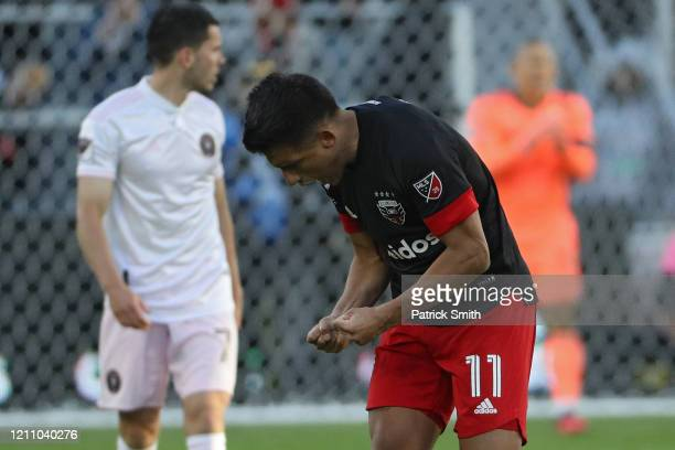 Yamil Asad of DC United celebrates his goal against the Inter Miami during the second half at Audi Field on March 7 2020 in Washington DC