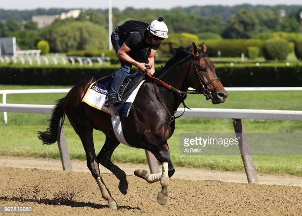 Yamil Ortiz is up on Belmont Stakes contender Gronkowski during training prior to the 150th running of the Belmont Stakes at Belmont Park on June 5...