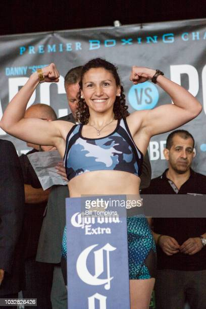 Yamila Reynosa weighs in for her upcoming Welterweight fught against Amanda Serrano at Barclays Center on September 7 2018 in New York City