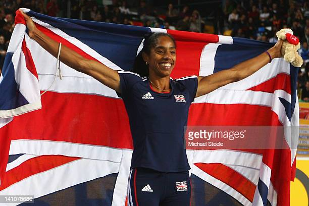 Yamile Aldama of Great Britain celebrates as she wins gold in the Women's Triple Jump Final during day two of the 14th IAAF World Indoor...