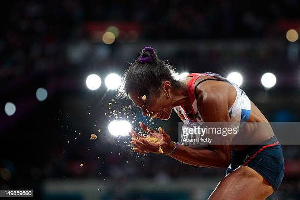 Yamile Aldama of Great Britain compete in the Women's Triple Jump final on Day 9 of the London 2012 Olympic Games at the Olympic Stadium on August 5,...