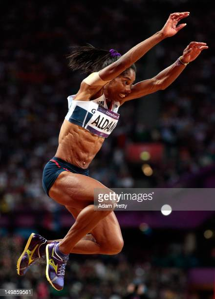 Yamile Aldama of Great Britain compete in the Women's Triple Jump final on Day 9 of the London 2012 Olympic Games at the Olympic Stadium on August 5...