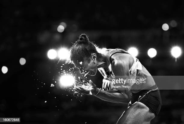 Yamile Aldama of Great Britain reacts after her final jump in the Women's Triple Jump final on Day 9 of the London 2012 Olympic Games at the Olympic...