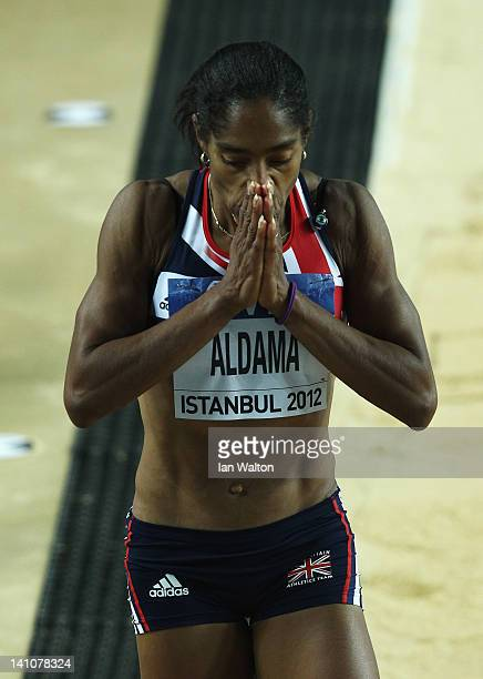 Yamile Aldama of Great Britain reacts as she competes in the Women's Triple Jump Final during day two of the 14th IAAF World Indoor Championships at...