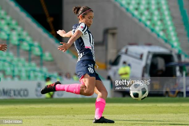 Yamile Franco of Monterrey kicks the ball during a match between Santos and Monterrey as part of the Torneo Grita Mexico A21 Liga MX Femenil at...