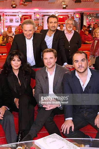 Yamina Benguigui Guillaume de Tonquedec and FrancoisXavier Demaison Michel Drucker and Mathieu Madenian attend 'Vivement Dimanche' French TV Show at...