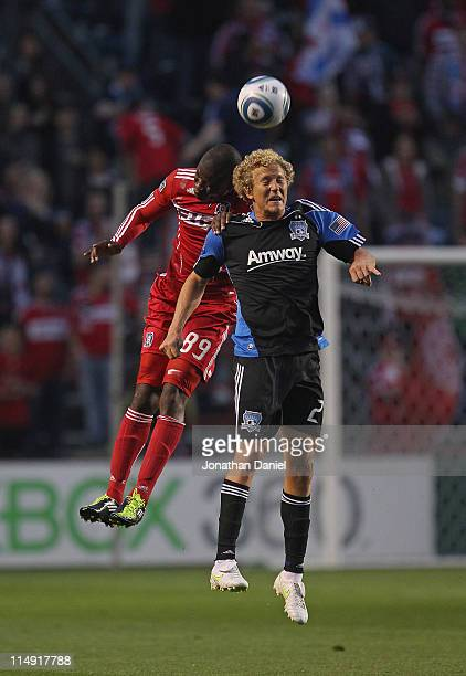 Yamith Cuesta of the Chicago Fire battles Steven Lenhart of the San Jose Earthquakes for a header during an MLS match at Toyota Park on May 28, 2011...