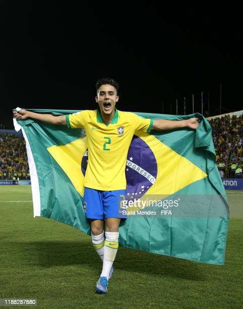 Yan Couto of Brazil celebrates at the final whistle during the Final of the FIFA U17 World Cup Brazil 2019 between Mexico and Brazil at the Estadio...