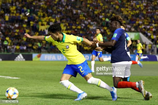 Yan Couto of Brazil in action during the FIFA U17 World Cup Brazil 2019 semifinal match between France and Brazil at Estadio Bezerrao on November 14...
