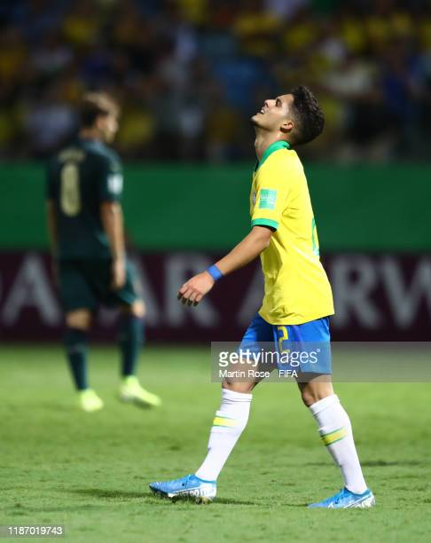 Yan Couto of Brazil reacts during the FIFA U17 World Cup Quarter Final match between Italy and Brazil at the Estádio Olímpico Goiania on November 11...