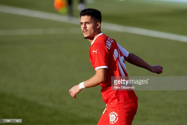 Yan Couto of Girona FC looks on during the Copa del Rey round of 32 match between Girona FC and Cadiz CF at Montilivi Stadium on January 16, 2021 in...