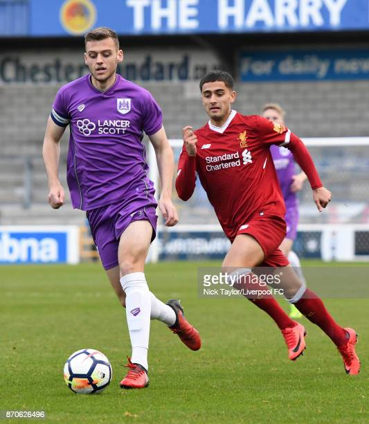 Yan Dhanda of Liverpool and Aden Baldwin of Bristol City in action during the U23 Premier League Cup between Liverpool and Bristol City at The...