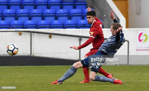 Yan Dhanda of Liverpool and Archie Edwards of Charlton Athletic during the Liverpool U23 v Charlton Athletic U23 Premier League Cup game at The...