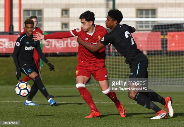 Yan Dhanda of Liverpool and Ben Johnson of West Ham United in action during the Liverpool v West Ham United PL2 game at The Kirkby Academy on...