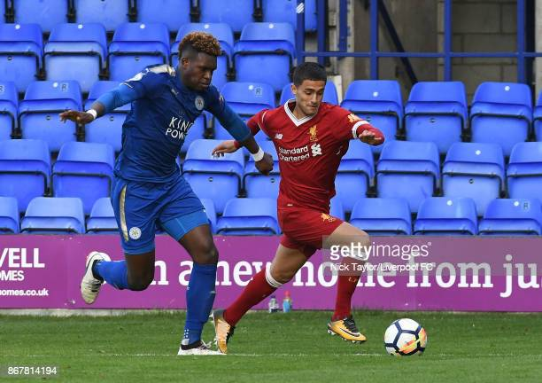 Yan Dhanda of Liverpool and Darnell Johnson of Leicester City in action during the Liverpool v Leicester City PL2 game at Prenton Park on October 29...