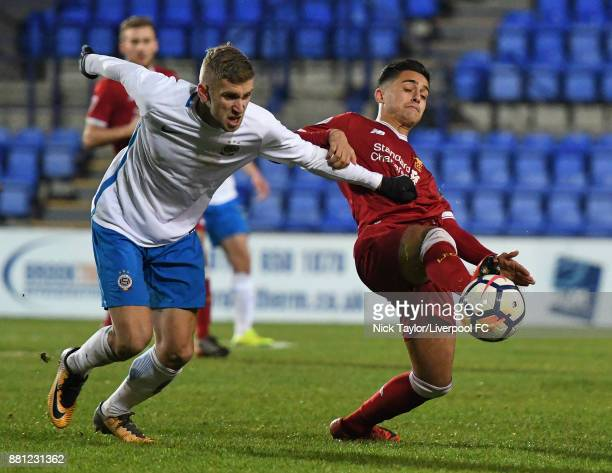 Yan Dhanda of Liverpool and Eldar Civic of Sparta Prague in action during the Liverpool v Sparta Prague U23 Premier League International Cup game at...