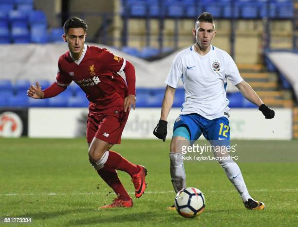 Yan Dhanda of Liverpool and Srdan Plavsic of Sparta Prague in action during the Liverpool v Sparta Prague U23 Premier League International Cup game...