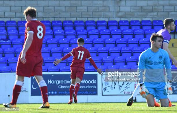 Yan Dhanda of Liverpool celebrates scoring during the U23 Premier League Cup between Liverpool and Bristol City at The Swansway Chester Stadium on...