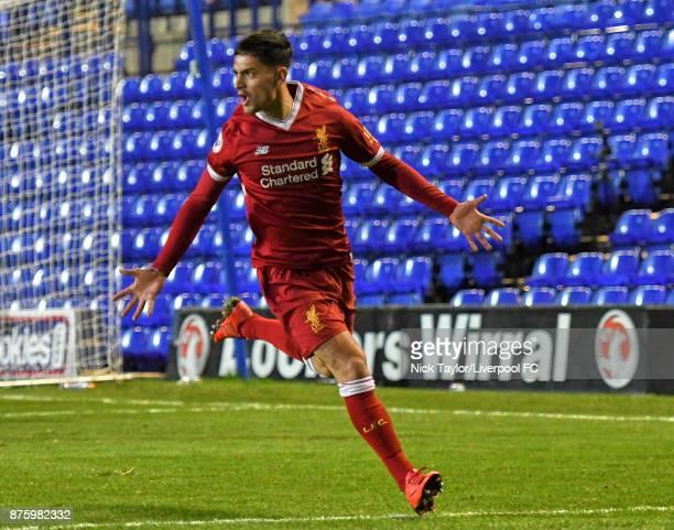 Yan Dhanda of Liverpool celebrates scoring the fourth goal during the Liverpool v Everton Premier League 2 game at Prenton Park on November 18 2017...