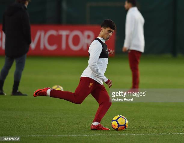Yan Dhanda of Liverpool during a training session at Melwood Training Ground on February 2 2018 in Liverpool England