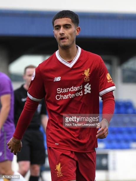 Yan Dhanda of Liverpool during the U23 Premier League Cup between Liverpool and Bristol City at The Swansway Chester Stadium on November 5 2017 in...