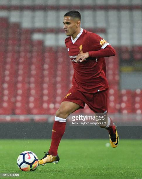 Yan Dhanda of Liverpool in action during the Liverpool v Tottenham Hotspur Premier League 2 game at Anfield on September 22 2017 in Liverpool England