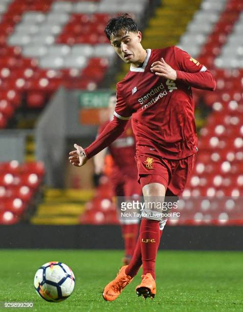 Yan Dhanda of Liverpool in action during the Premier League 2 match between Liverpool and Manchester United at Anfield on March 9 2018 in Liverpool...