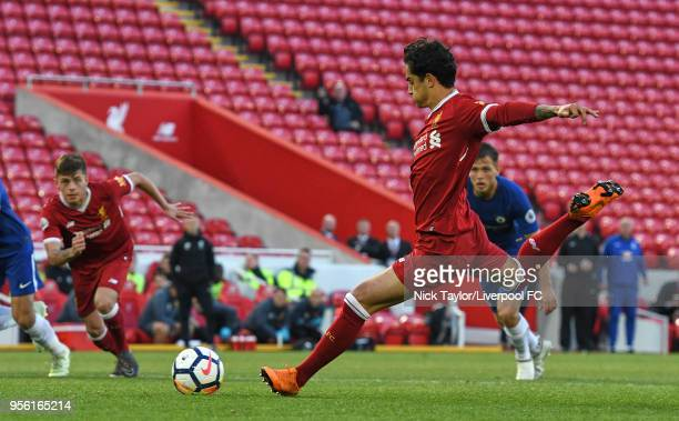 Yan Dhanda of Liverpool scores Liverpool's third goal from the penalty spot during the Premier League 2 match between Liverpool and Chelsea at...