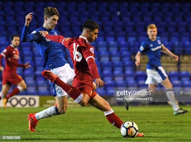 Yan Dhanda of Liverpool scores the fourth goal during the Liverpool v Everton Premier League 2 game at Prenton Park on November 18 2017 in Birkenhead...