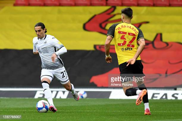 Yan Dhanda of Swansea City in action during the Sky Bet Championship match between Watford and Swansea City at Vicarage Road on May 08, 2021 in...
