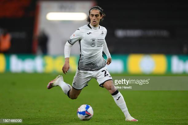 Yan Dhanda of Swansea City in action during the Sky Bet Championship match between AFC Bournemouth and Swansea City at Vitality Stadium on March 16,...