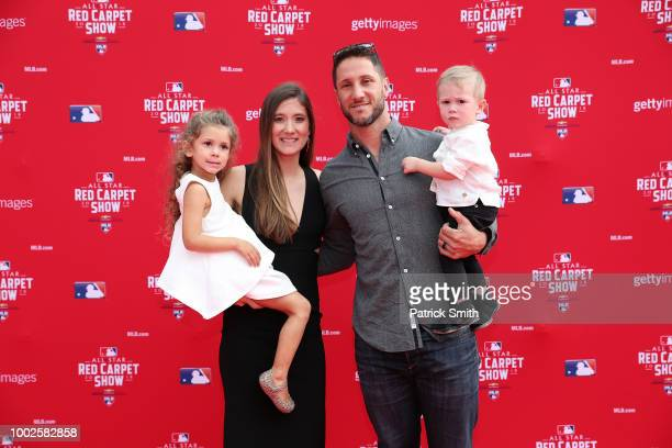 Yan Gomes of the Cleveland Indians and the American League and guests attend the 89th MLB AllStar Game presented by MasterCard red carpet at...