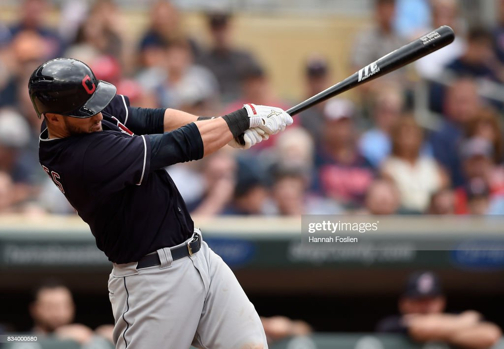 Yan Gomes #7 of the Cleveland Indians hits a three-run home run against the Minnesota Twins during the eighth inning in game one of a doubleheader on August 17, 2017 at Target Field in Minneapolis, Minnesota. The Indians defeated the Twins 9-3.