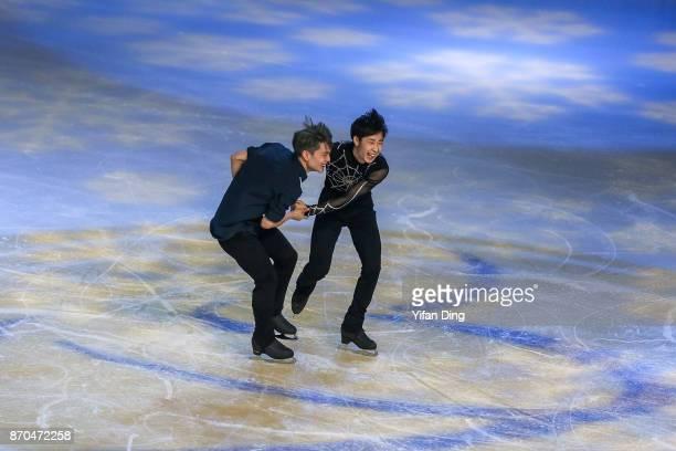 Yan Han and Jin Boyang of China perform during exhibition program of Audi Cup of China ISU Grand Prix of Figure Skating 2017 at Beijing Capital...