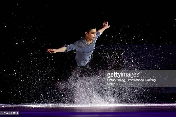 Yan Han of China performs during the Exhibition Program on day three of Audi Cup of China ISU Grand Prix of Figure Skating 2016 at Beijing Capital...